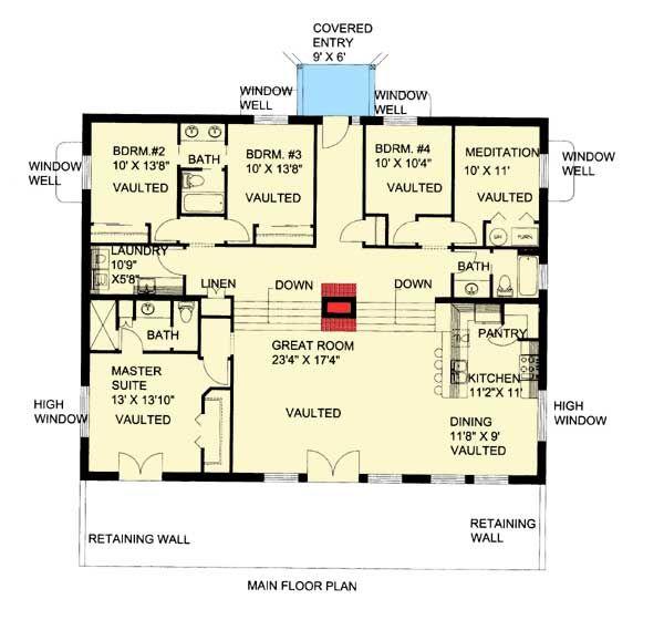 Plan 35458gh Attractive Berm House Plan House Plans Contemporary House Plans Floor Plan Design