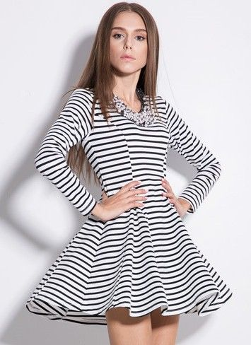 Vestido rayas manga 34 Sheinside | Vestidos con tenis, Ropa