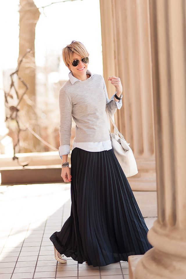862d9c0ca3 Chambray + grey sweater + pleated maxi. Seersucker + Saddles stays nailing  it.