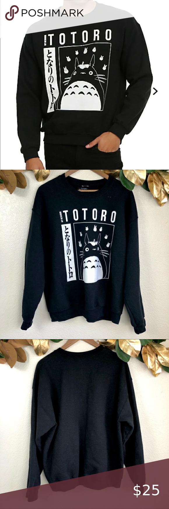 Studio Ghibli My Neighbor Totoro Crew Pullover Black Crewneck Sweatshirt My Neighbor Totoro Pullover [ 1740 x 580 Pixel ]