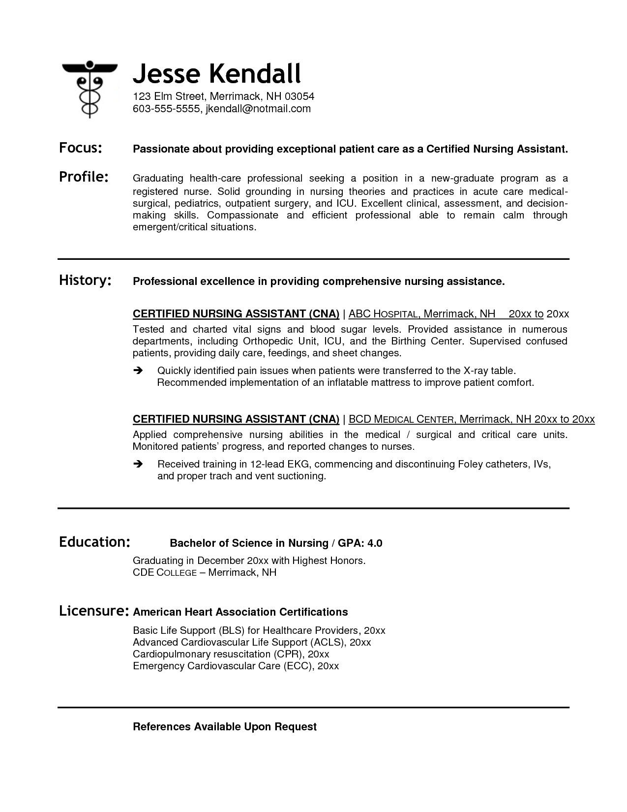 Cna resume Nursing resume, Sample resume, Resume