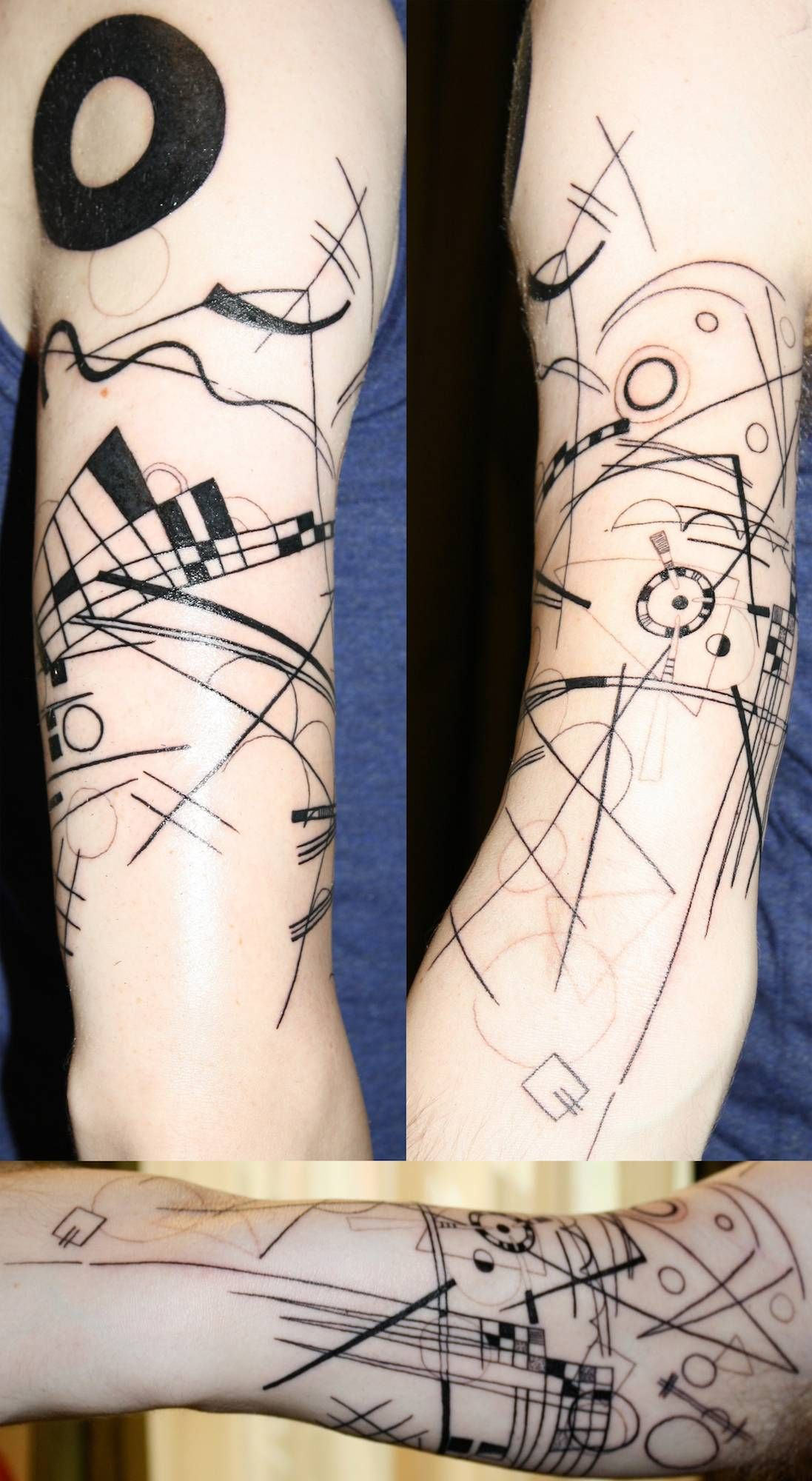Abstract Black And White Geometric Forearm Tattoo On Tattoochief