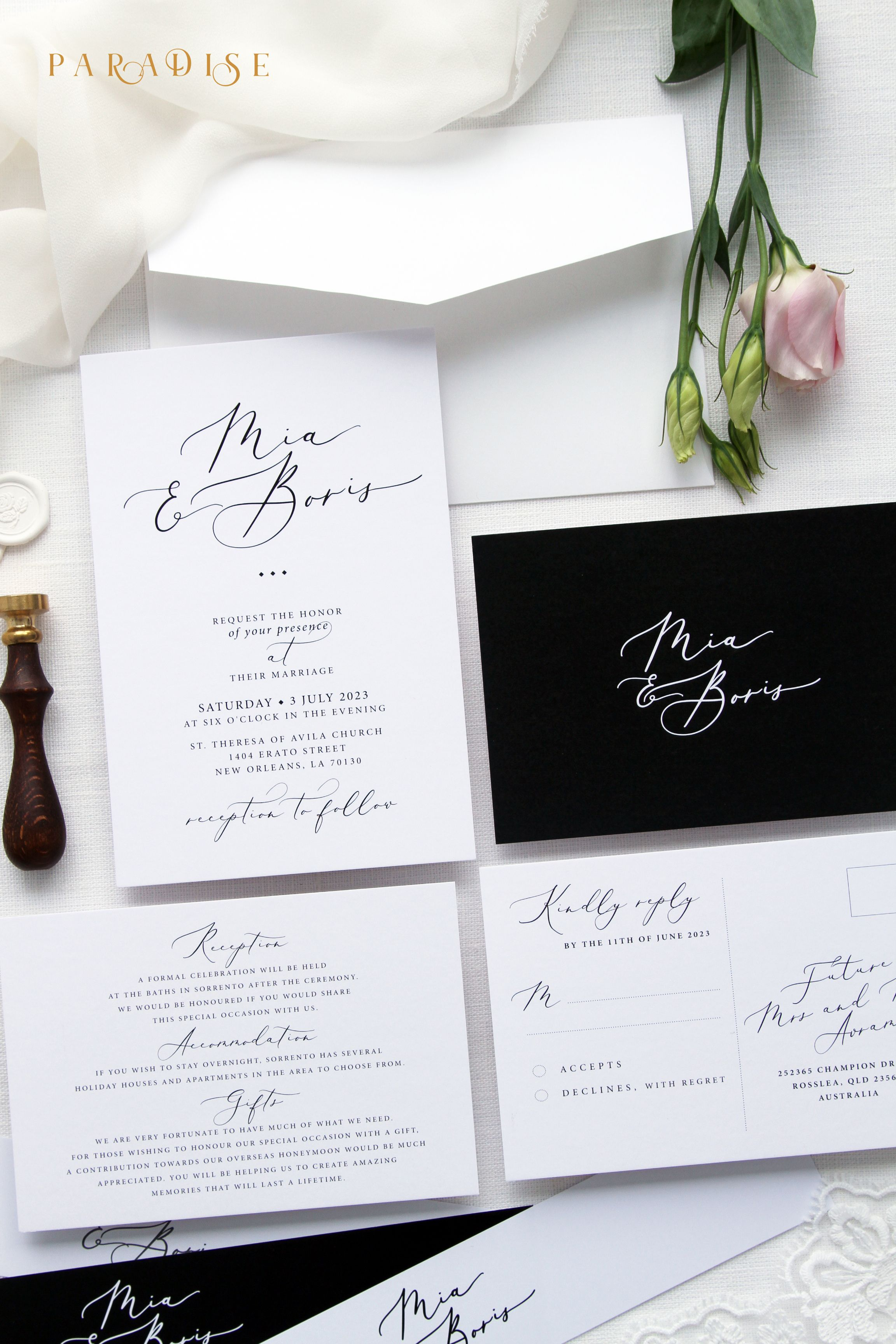 Mila Black and White Wedding Invitation Sets, Calligraphy Wedding ...