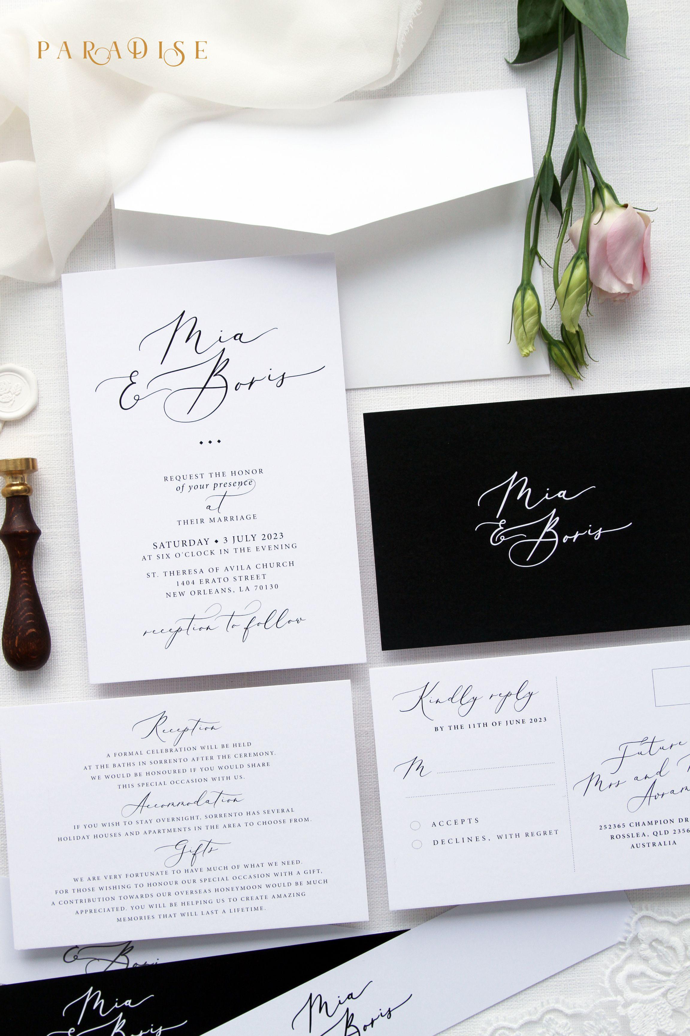 Mila Black and White Wedding Invitation Sets