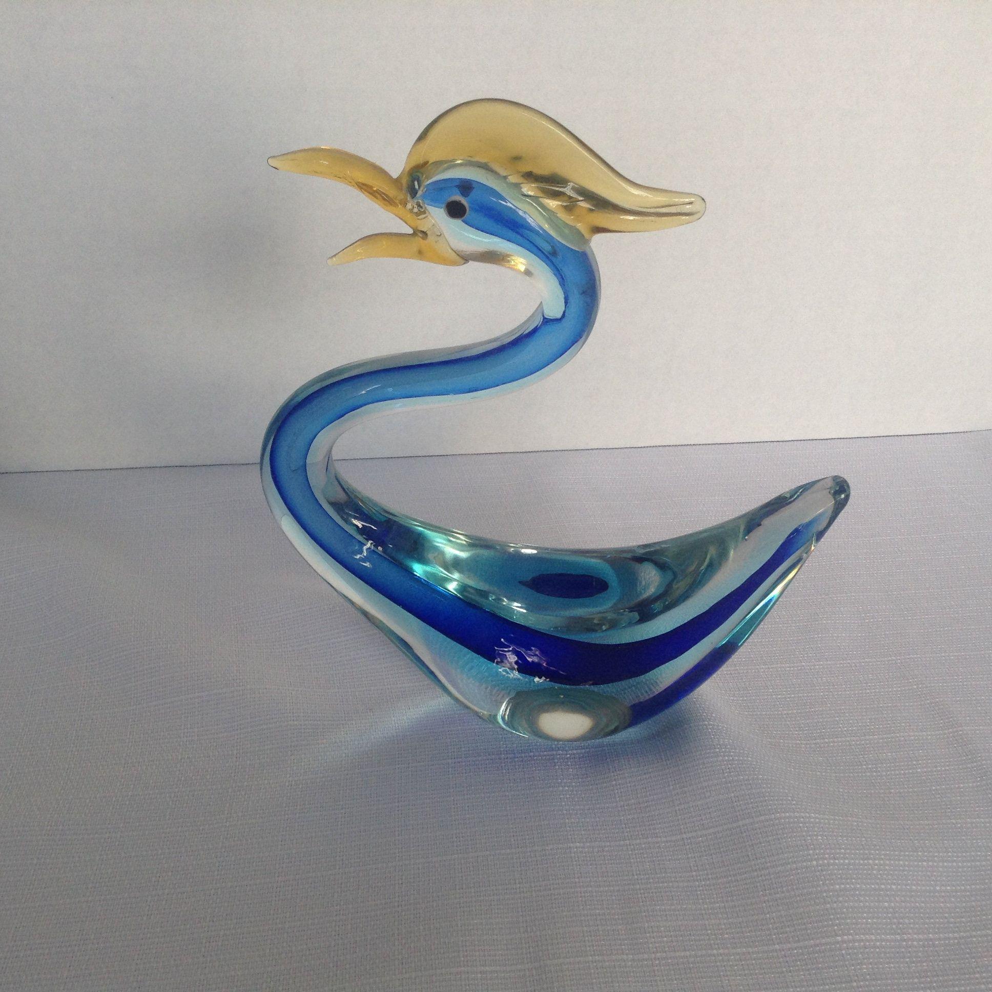 """Glass bird Swan /""""murano/"""" figurine handmade"""