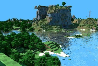 マイクラ 湖に囲まれた島の壁紙 壁紙キングダム Pc デスクトップ版 Pc用壁紙 壁紙 キングダム