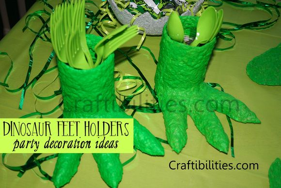 Paper mache dinosaur party decoration holders table display idea