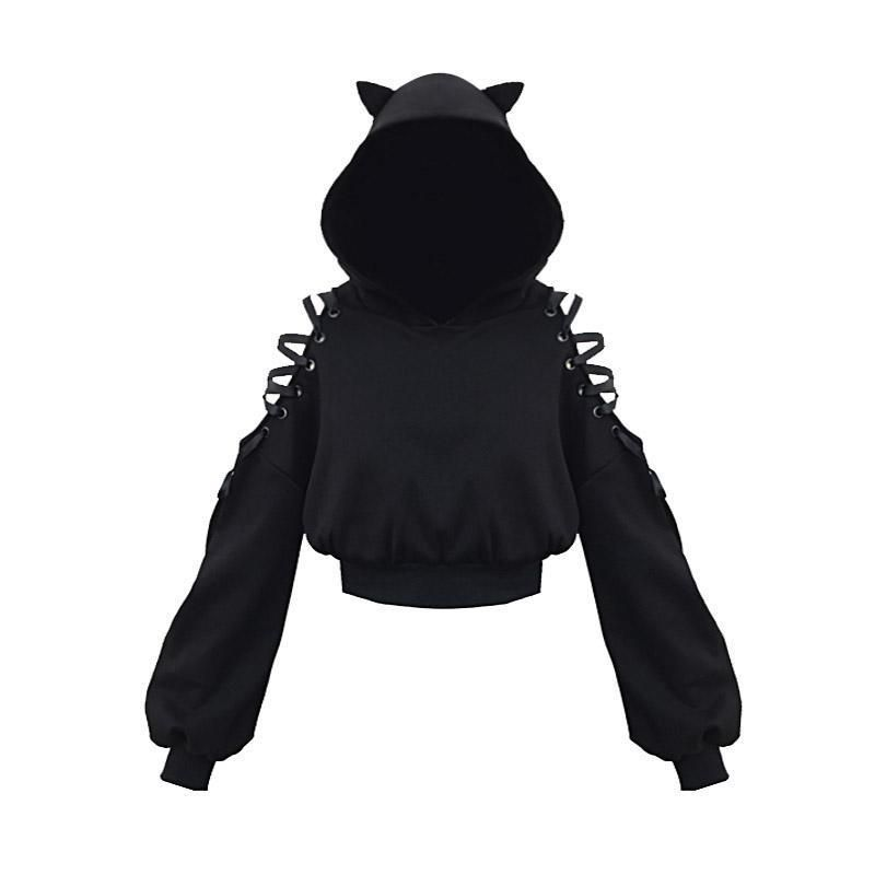 Cat Ears Lace Up Short Hoodie Black