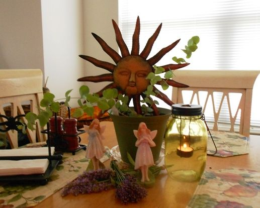Midsummer 2011 - Centerpiece for Sabbat Celebration includes freshly cut lavender from my garden and of course fairies!