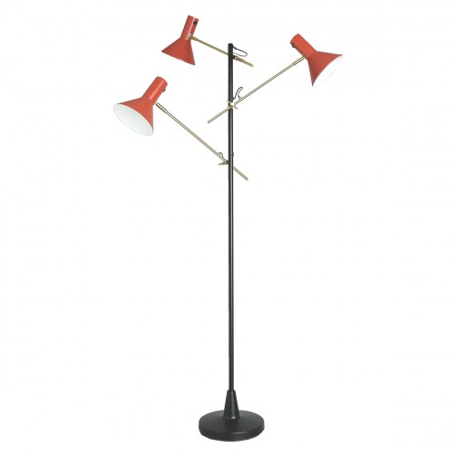 Nyx Black And Red 3 Head Metal Floor Lamp In 2020 Metal Floor Lamps Floor Lamp Lamp