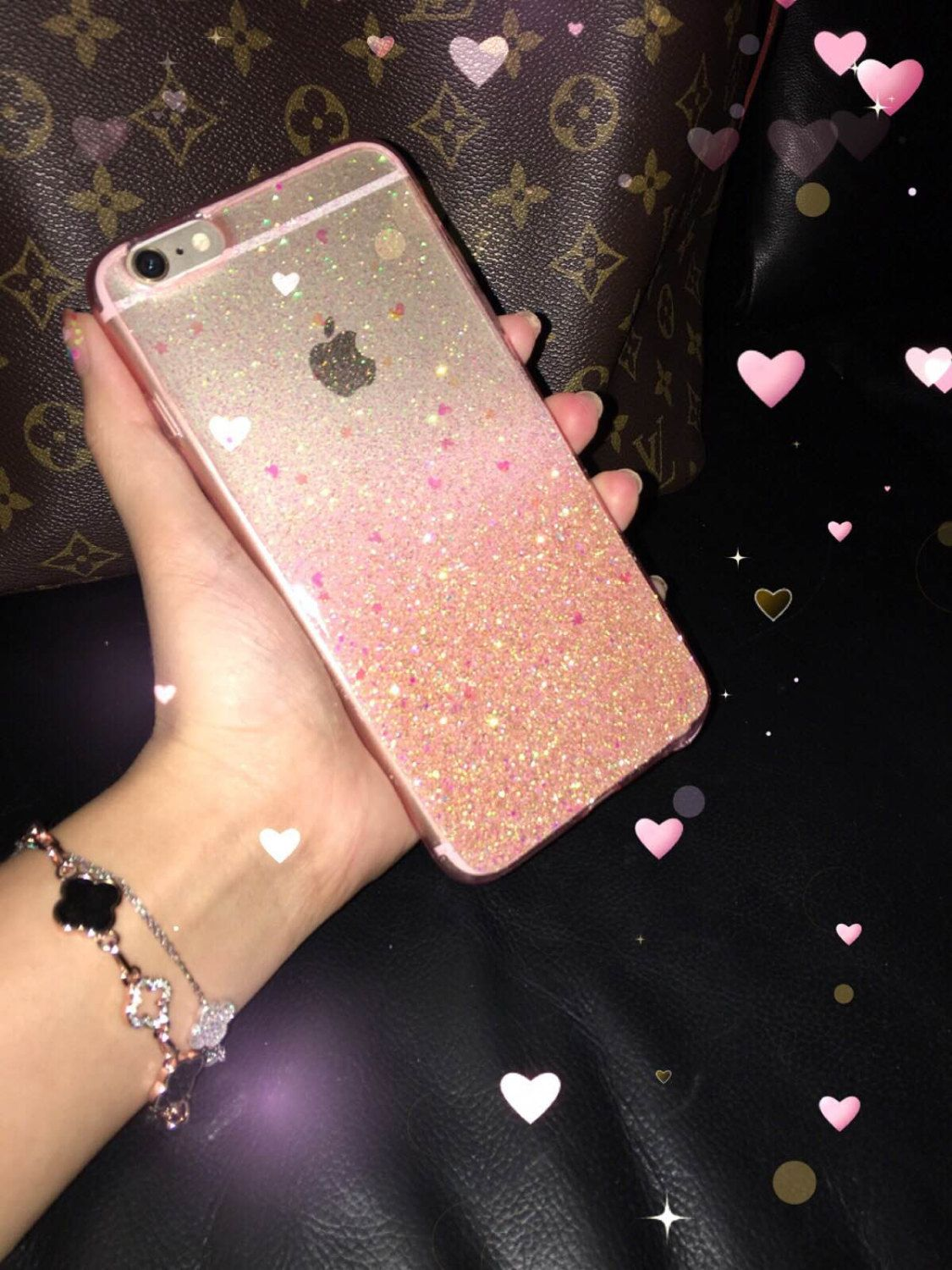 82a61d60cc Rose Gold Ombre Glitters Handmade Sparkle Fading Transparent Phone Case 5/5s /6/