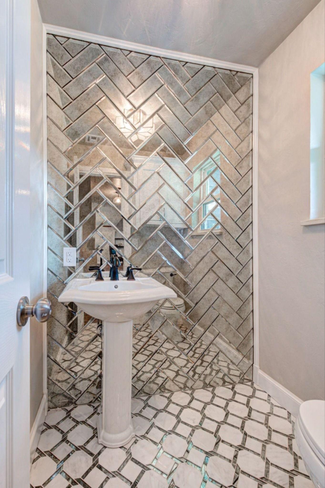 antique mirror glass bathroom design in