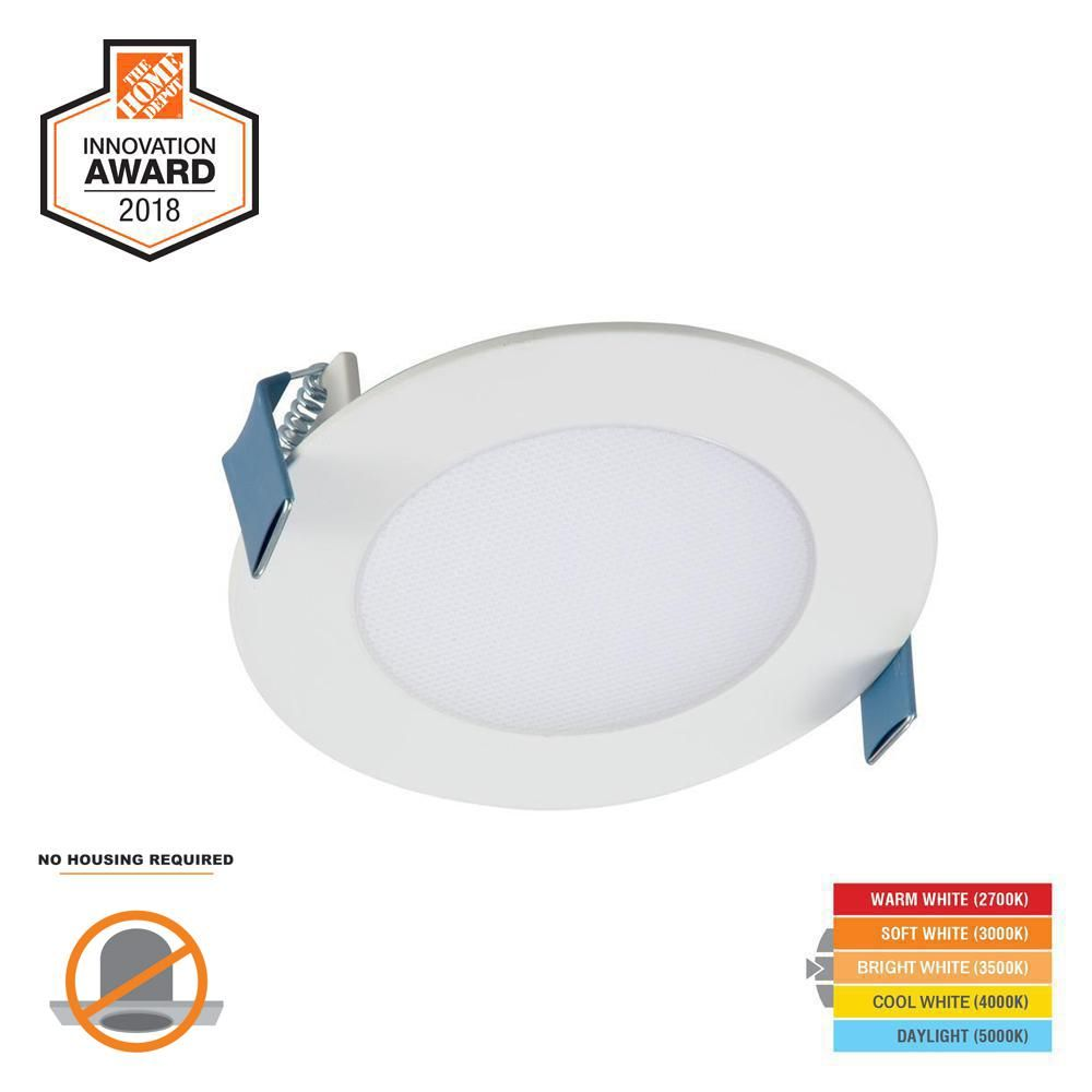Halo Hlb 4 In Selectable Cct New Construction Or Remodel Canless Recessed Integrated Led Kit Hlb4069fs1emwr The Home Depot Recessed Lighting Installing Recessed Lighting Recessed Lighting Trims
