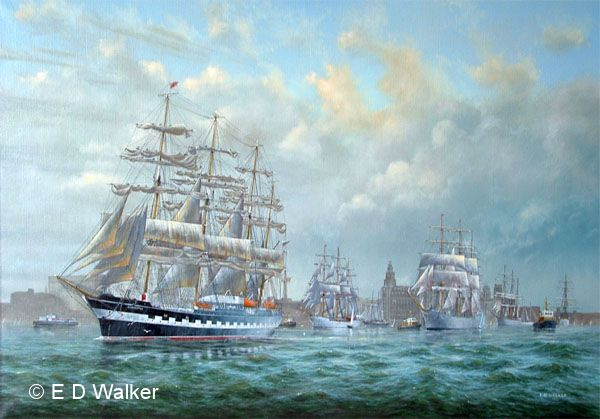 old sailing ship paintings tall ships in mersey come