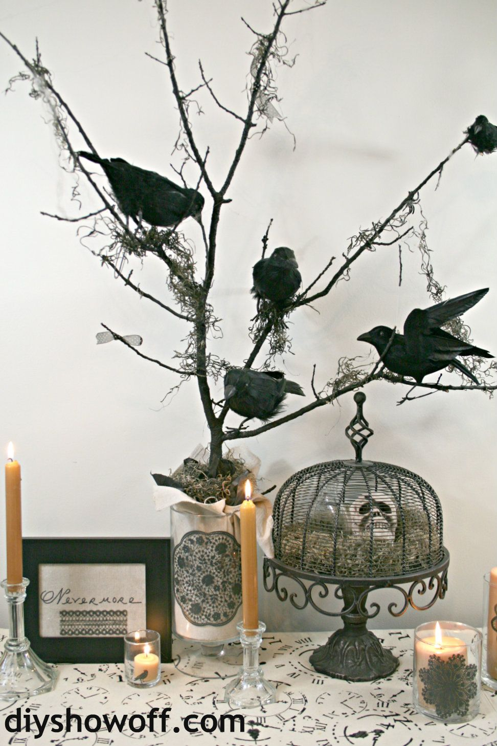 DIY Black Lace Silkscreen Glass Candle Holders Vignettes, Ravens - Diy Indoor Halloween Decorations