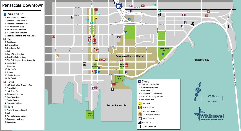 Downtown Pensacola Map on