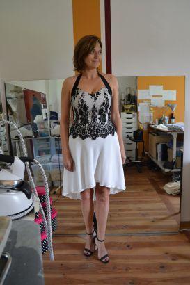 Robe de mariée courte dentelle noire, Isabelle