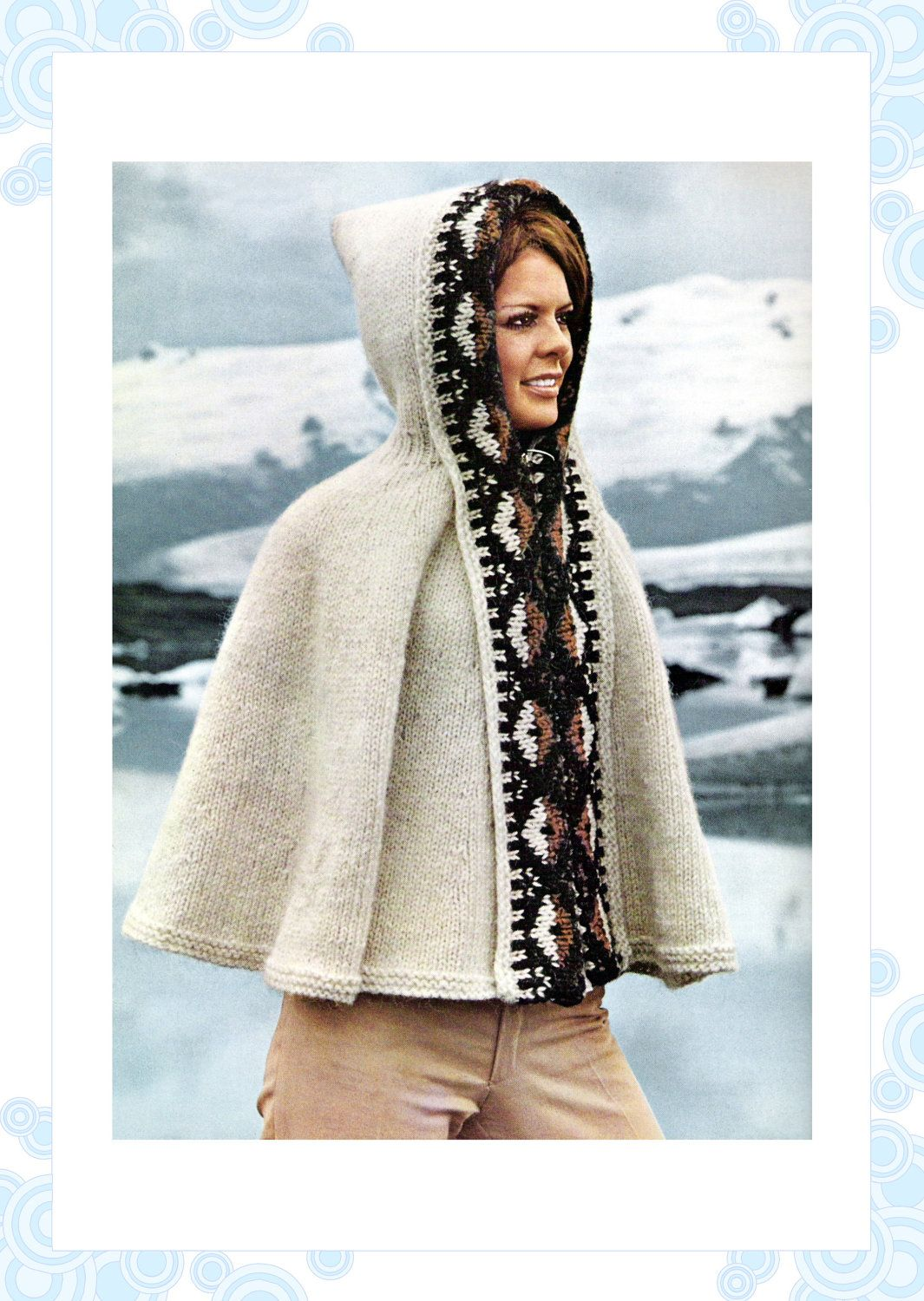 vintage knitting pattern - icelandic hooded poncho - cape - 60s ...