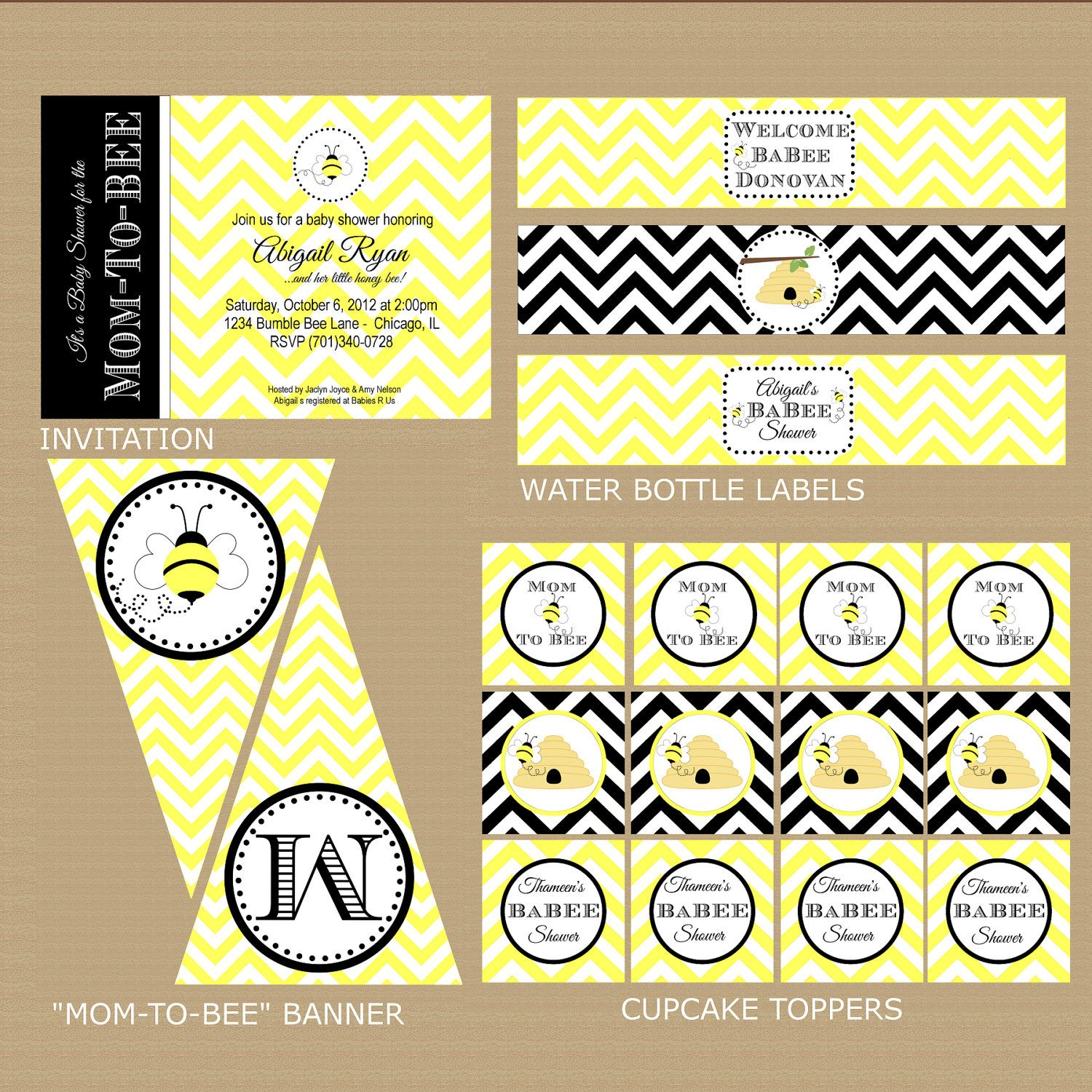 Bumble Bee Baby Shower Package Printable By