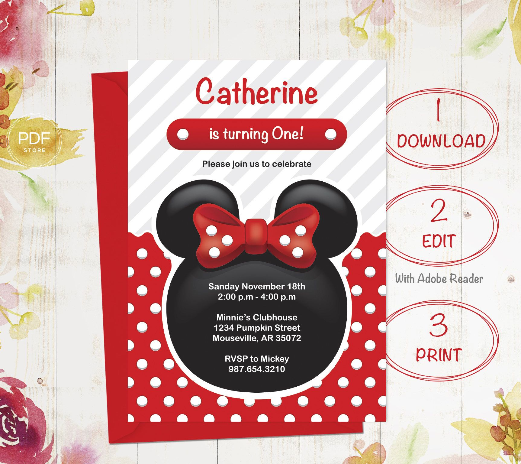Minnie Birthday Invitation, First Birthday, Minnie invitation, Girl ...