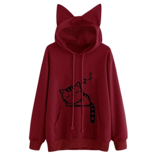 Fashion Cat Ear Hooded Sweatshirts Tops Womens Cat Printed