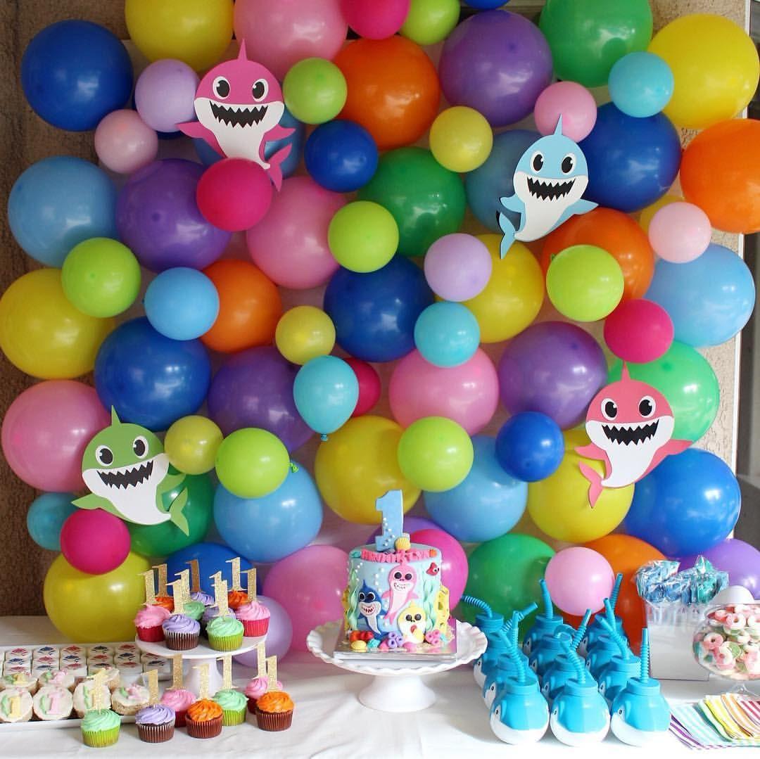 Breanna Sanchez En Instagram A Baby Shark First Birthday For Baby Brooklyn I Had Shark Theme Birthday Shark Themed Birthday Party Shark Party Decorations