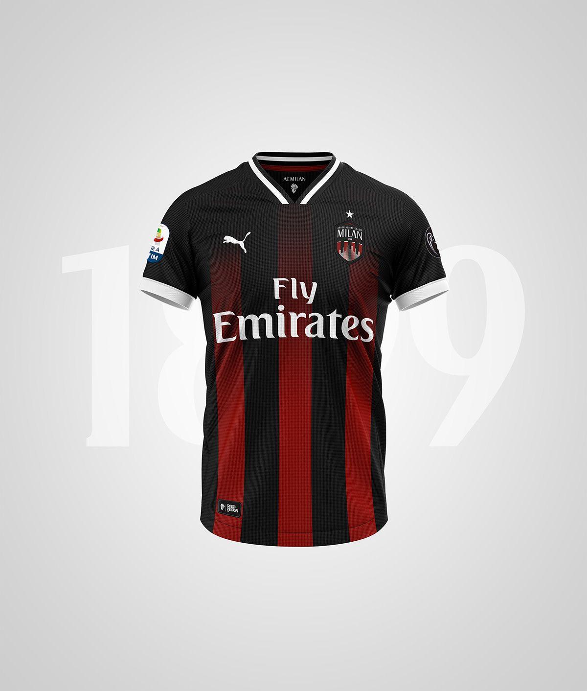 A C Milan Rebranded New Logo Jerseys On Behance Sports Jersey Design Milan Ac Milan Kit