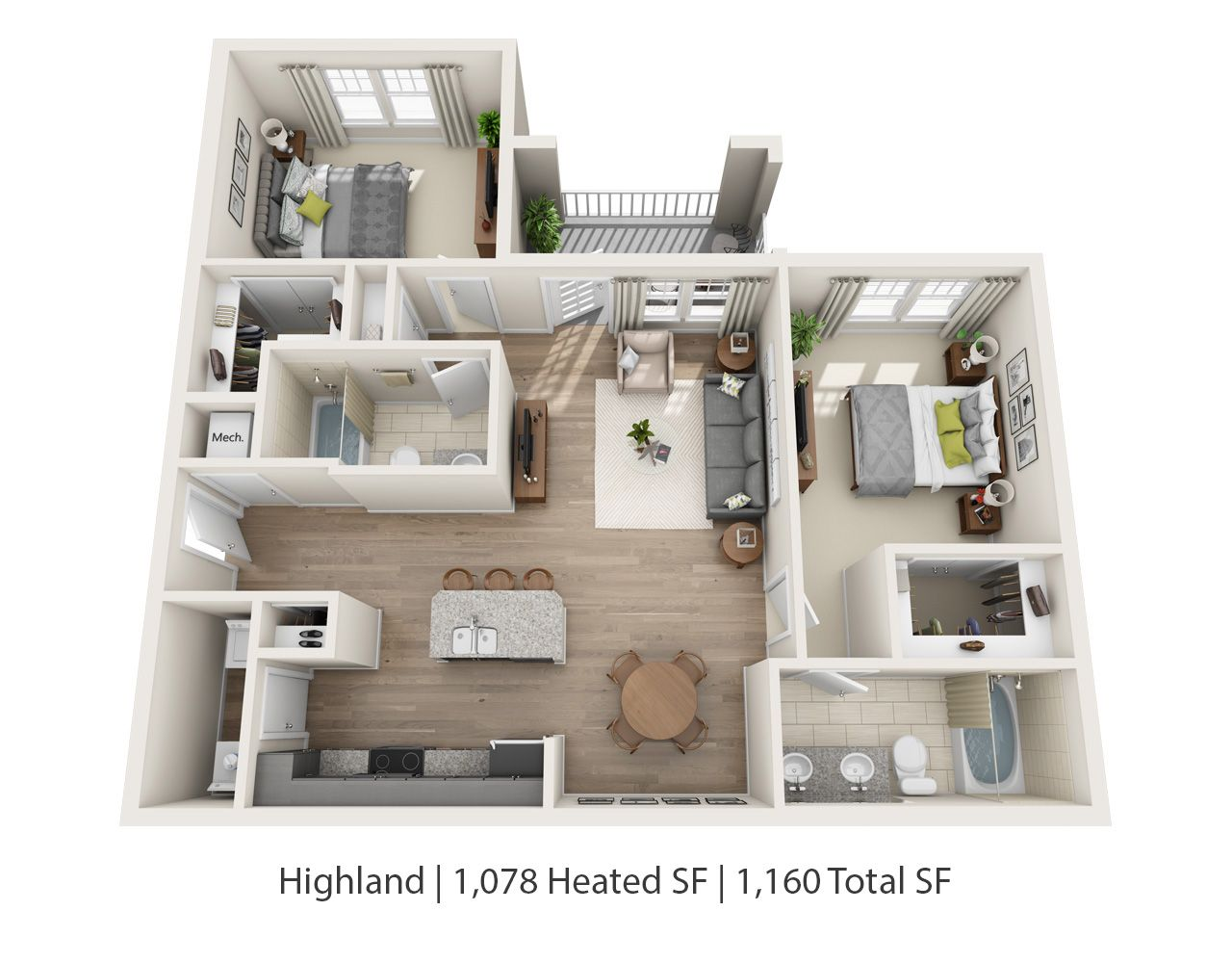 There S Plenty Of Room For You And Your Bff In Our Two Bedroom Apartments Both The Abbington And Highland Pictured Here Floorplans Will Be Available Beginnin