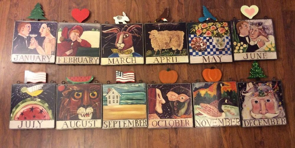 "VTG Set Of 12 Month Year Nancy Thomas Folk Art 8""X 8"