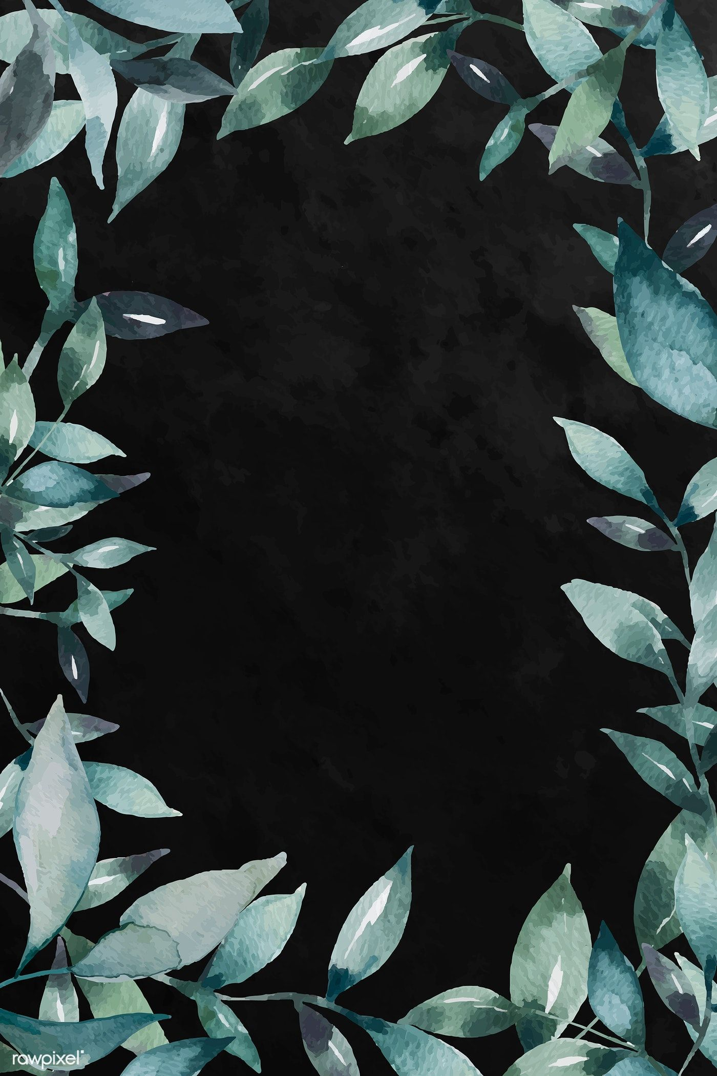 Download Premium Vector Of Green Leaf Patterned Blank Frame Vector 2037211 In 2020 Flower Background Wallpaper Flower Graphic Design Flower Graphic
