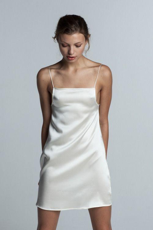 47158b26f4 Silky and shiny. minimalist white slip dress