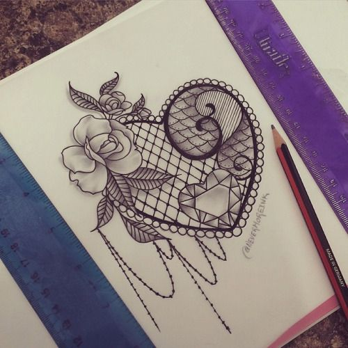 Download Free Doodled another lace design today! Pretty heart jewel and a flower ... Tattoo to use and take to your artist.