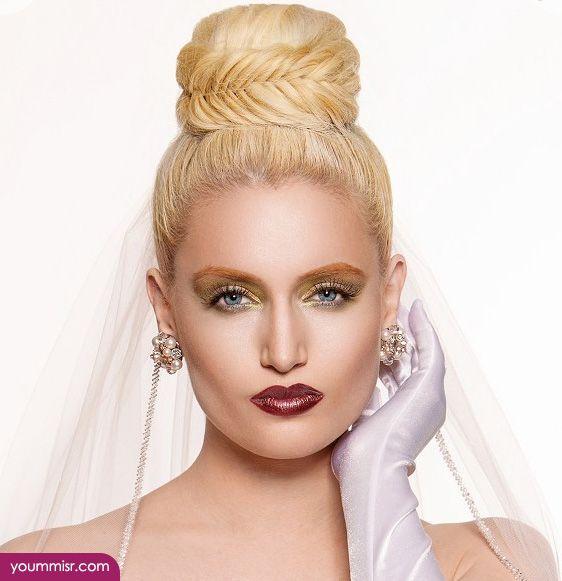 اجمل تسريحات شعر للعرائس 2016 بالتاج لبنانية انستقرام Blonde Bridal Hair Hair Styles High Updo