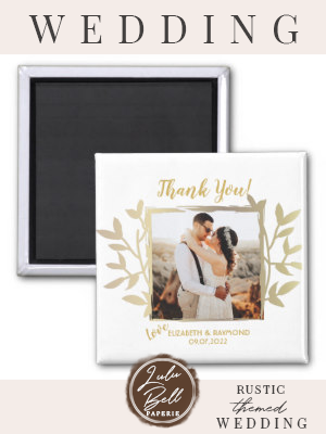 Newlywed Photo Thank You Wedding Gold Frame Magnet
