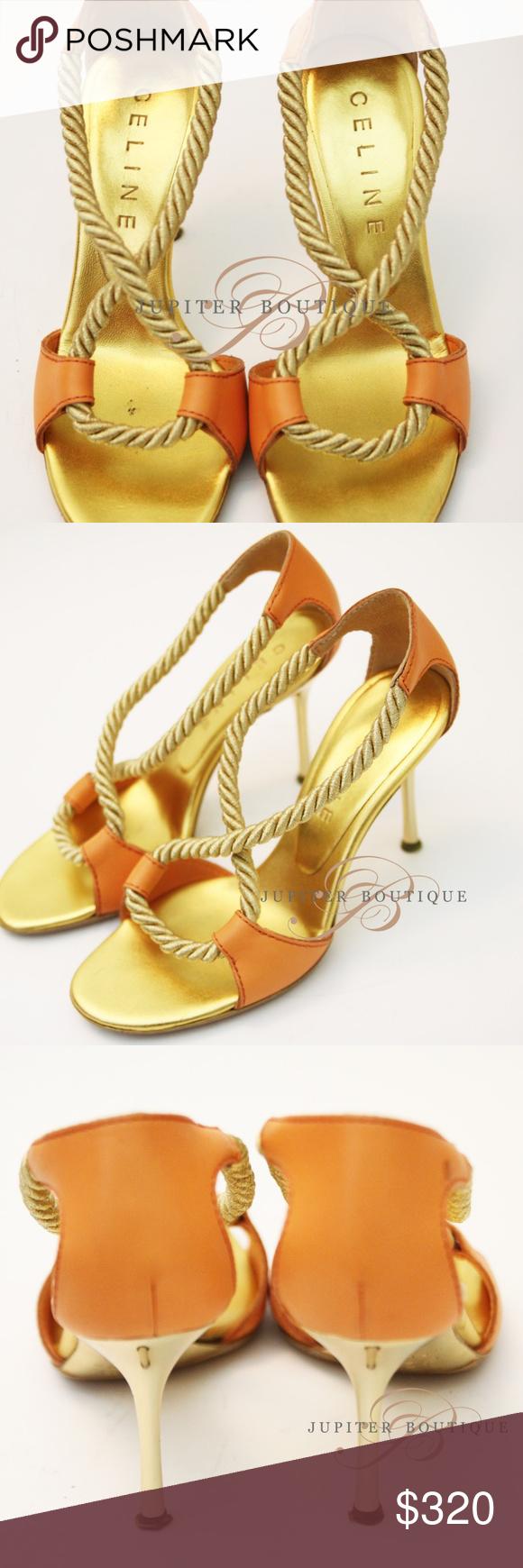 Celine Gold Fr36 Sandals Golden Sandals Celine Shoes Women Shopping