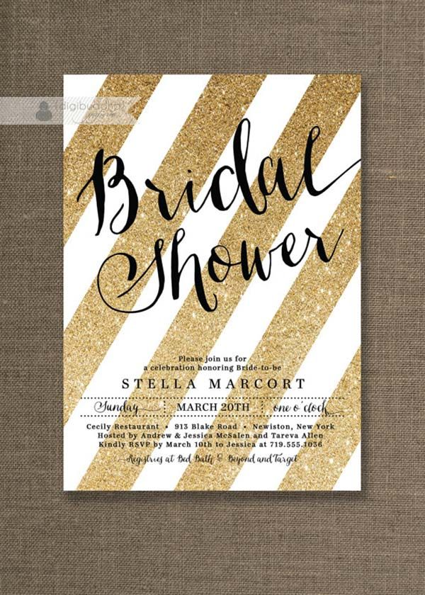 Kate spade bridal shower ideas galore bridal showers bridal black gold bridal shower invitation white and gold glitter stripes metallic sparkly glam modern printable digital or printed stella style filmwisefo