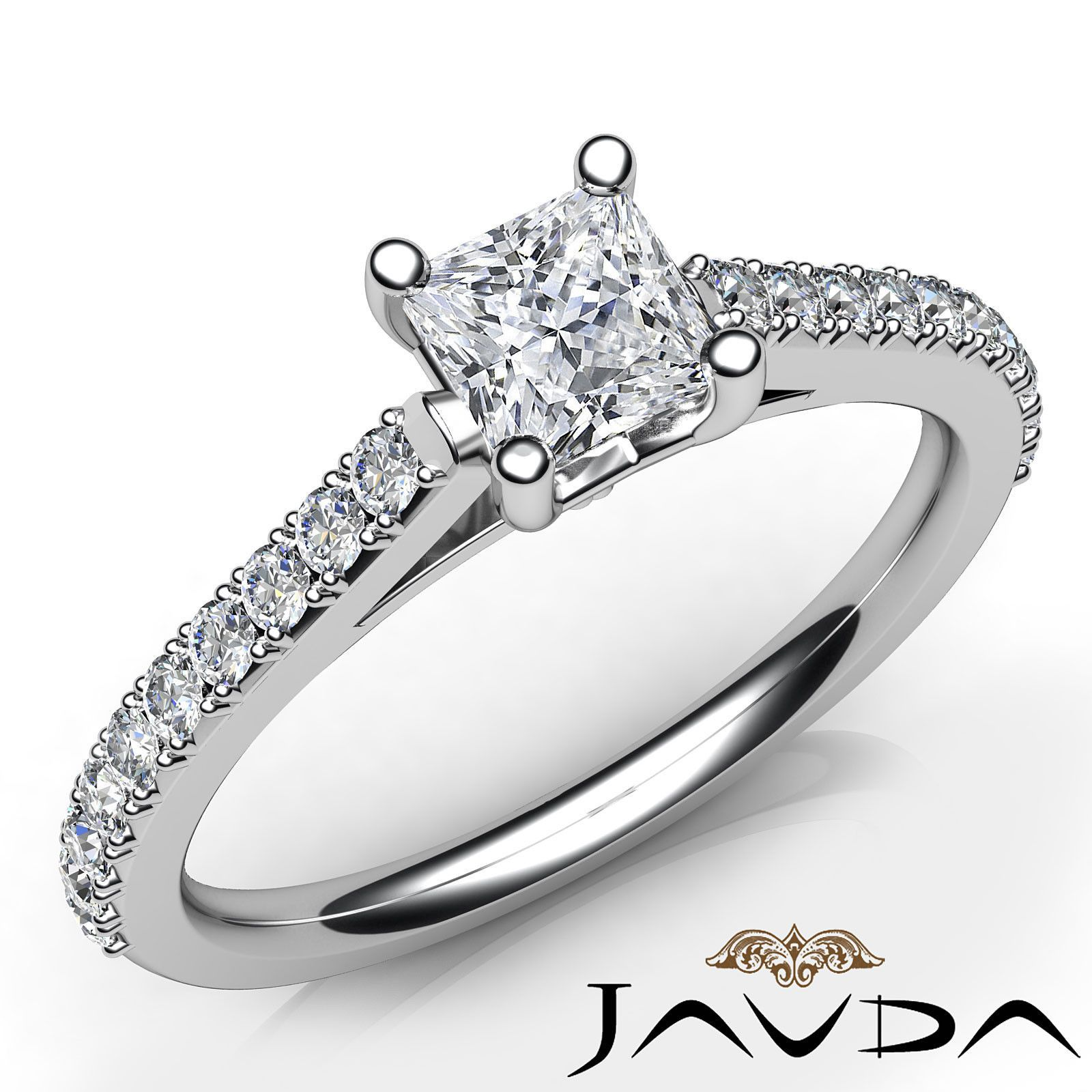 Shared Prong Set Princess Diamond Engagement Ring GIA D Color SI1 Platinum 0 8ct | eBay