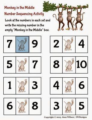 Monkey in the Middle Number Sequencing Activity / Printable Pre-K ...