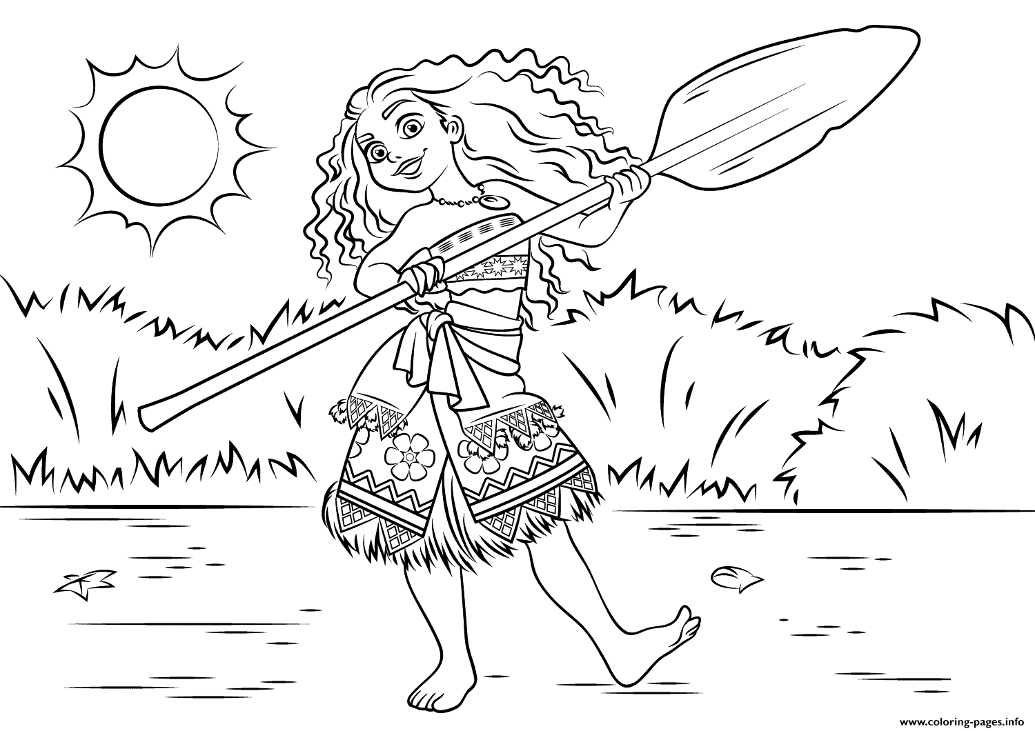 Print Princess Moana Waialiki Having Fun Coloring Pages