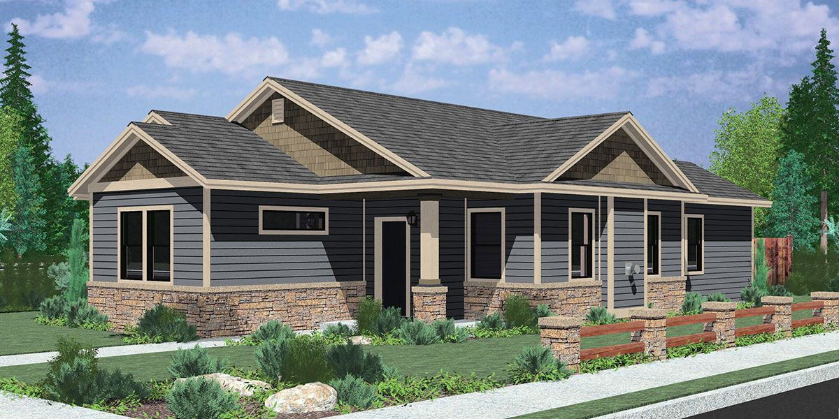 Single Level Rectangular Ranch House Cost Efficient Plans Empty Nester For