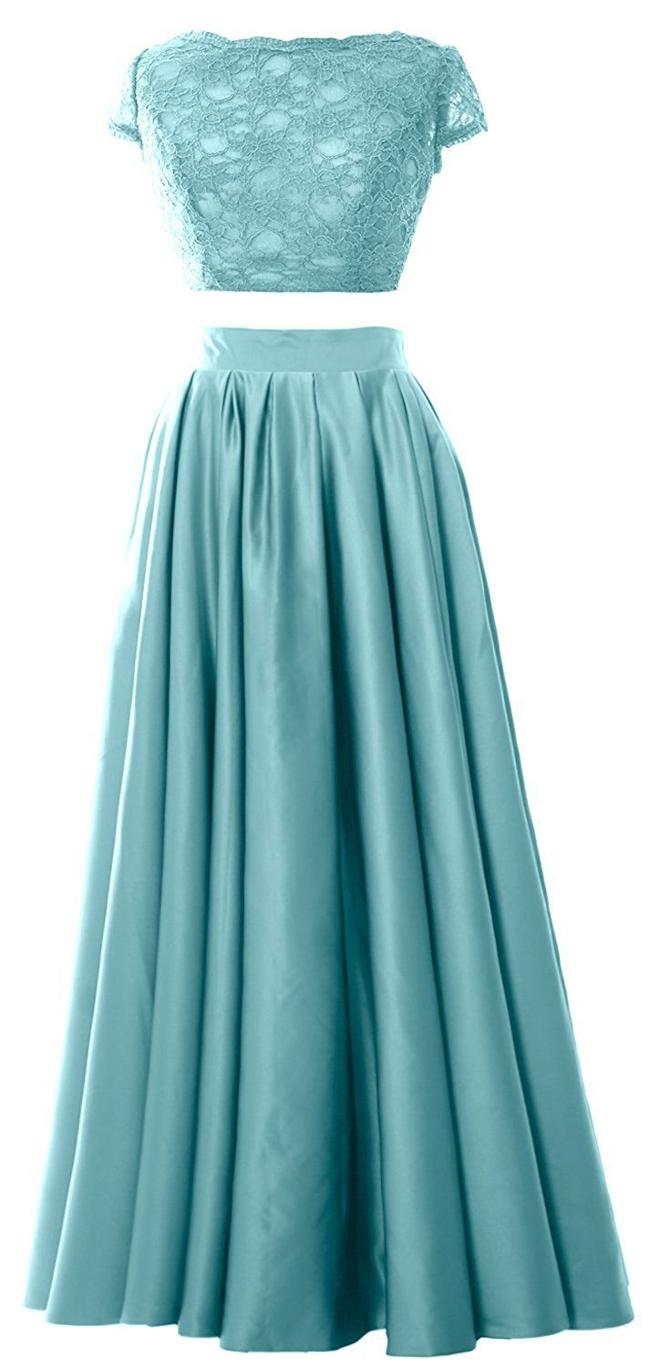 Macloth women piece prom gown cap sleeves lace long formal evening