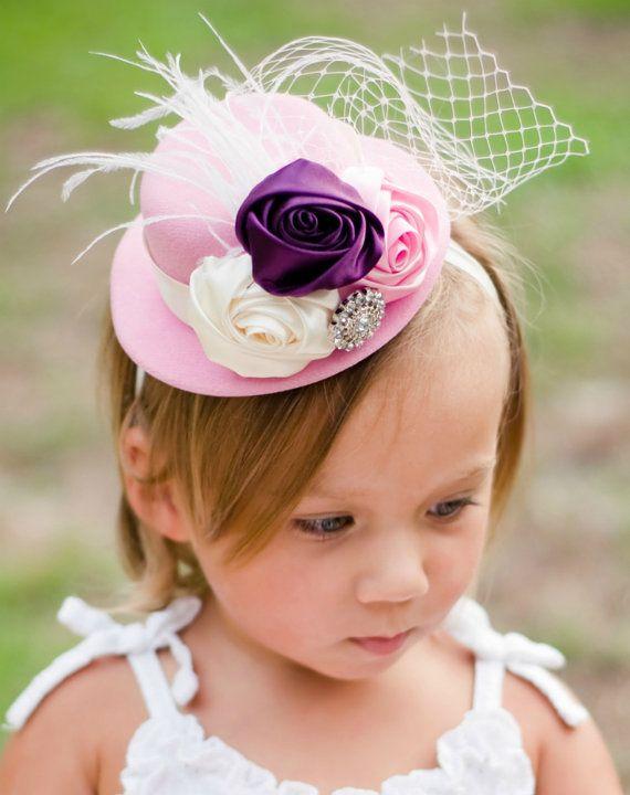 140d7673a Mini Top Hat Fascinator Headband: Ivory Pink and Plum elagance ...