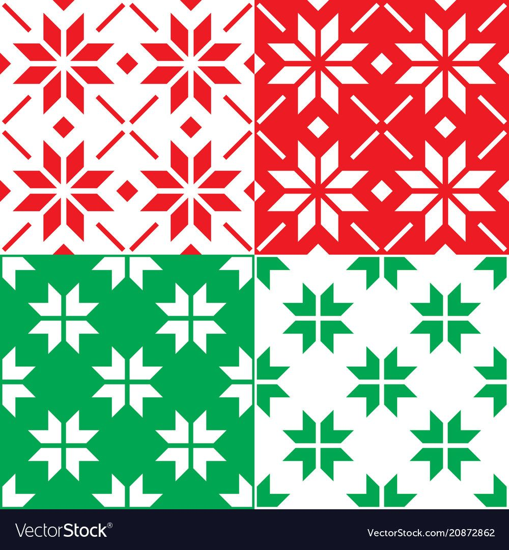 Winter nordic snowflakes pattern christmas vector image on