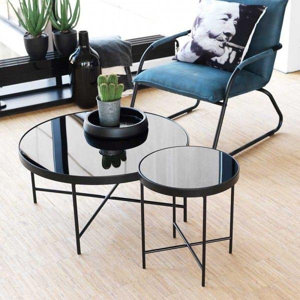 Glas Beistelltisch Cessey In Schwarz Rund Metall Wohnzimmertische Couchtisch Rund Tisch