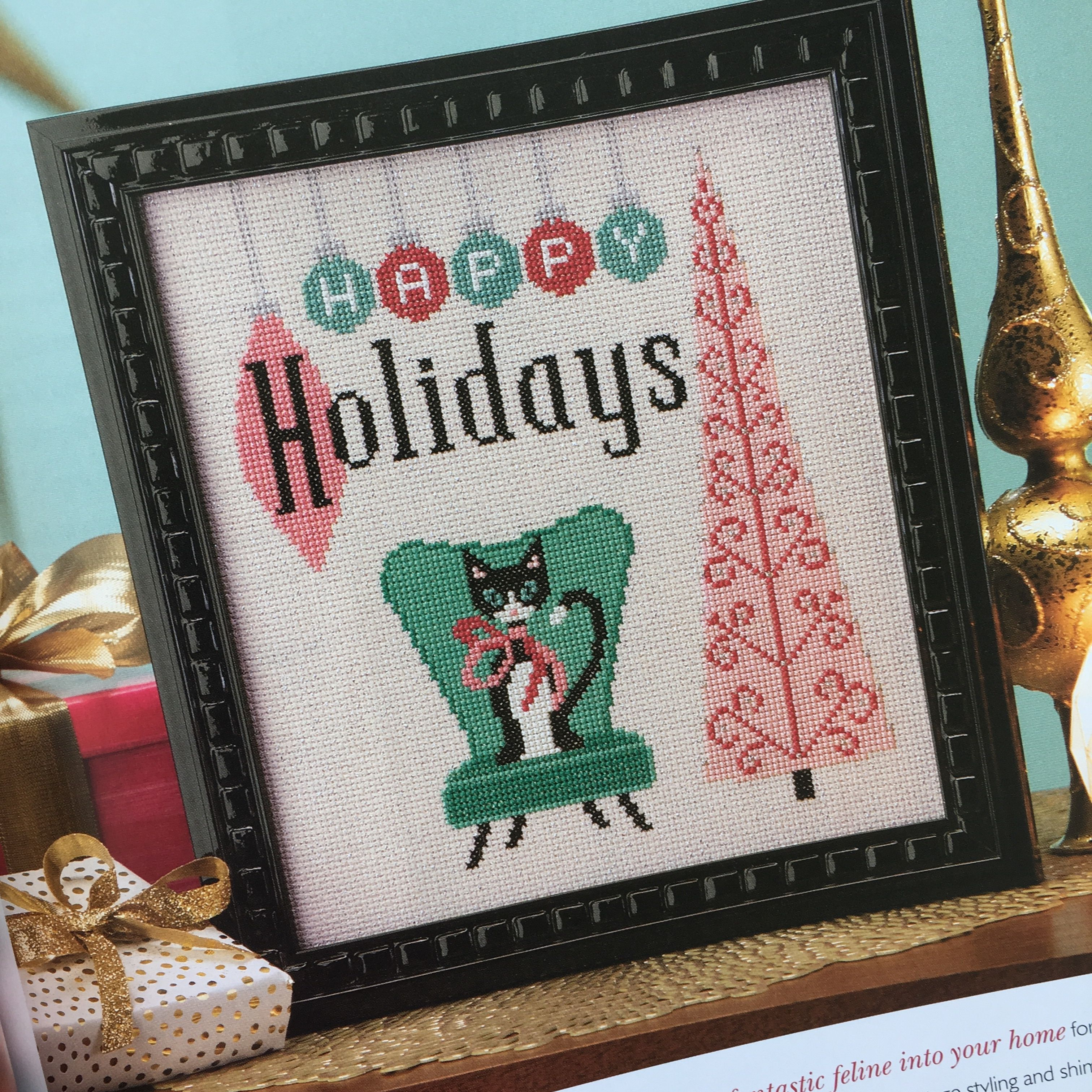 Black Cats Cards Presents Tree Stocking Kitten Christmas Cross Stitch Chart X4