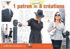 Patron de couture GRATUIT Robe et Tunique, taille 34 à 42                                                                                                                                                                                 Plus