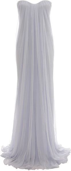 1054301625b80 Alexander Mcqueen Blue Draped Bustier Gown - Draped silk chiffon bustier  dress with internal bodice and concealed zip fastening.