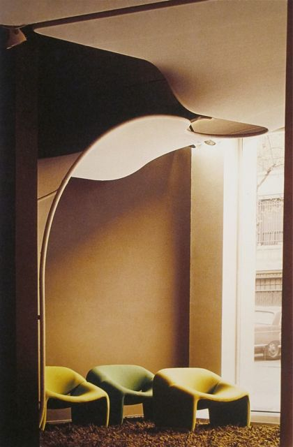 Interior Of The Lobby Of The Magazine Meubles Et Fonction Paris 1971 Pierre Paulin Designed The Interior And The Design Interior Deco Vintage Interiors