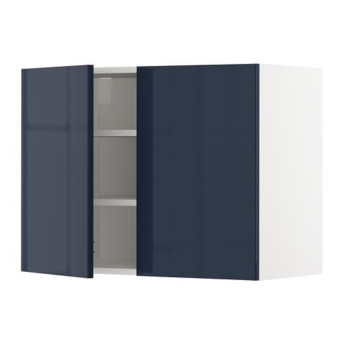 Metod Wall Cabinet With Shelves 2 Doors White Jarsta Black Blue