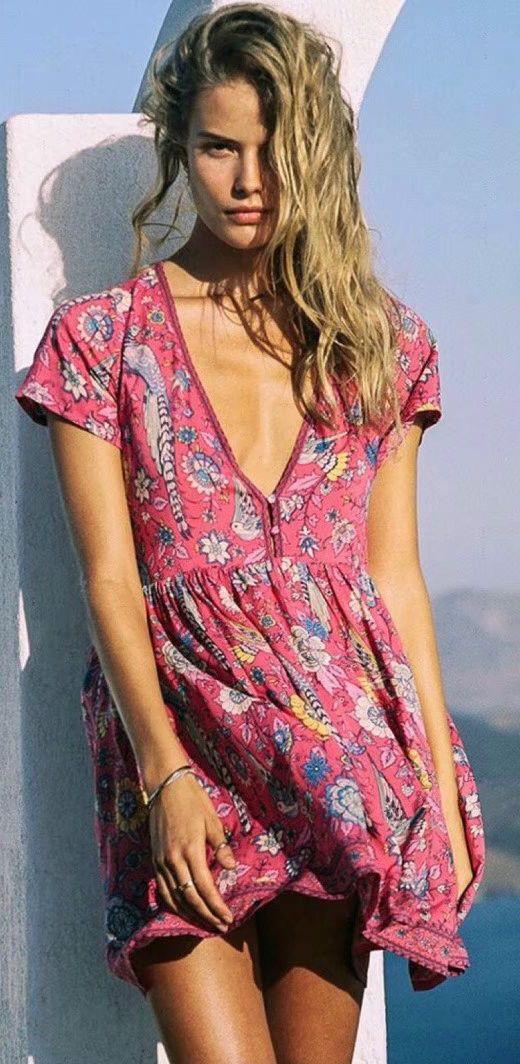 c58181196e1a Women s Deep V Neck Floral Printed Short Sleeve Dress